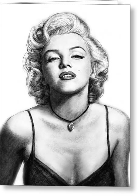 Marilyn Monroe Art Drawing Sketch Portrait Greeting Card by Kim Wang