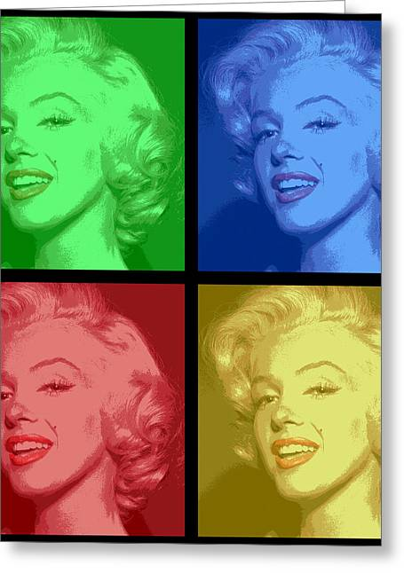 Marilyn Monroe Colored Frame Pop Art Greeting Card