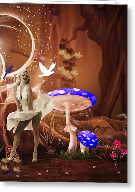 Marilyn Monroe In Fantasy Land Greeting Card by EricaMaxine  Price