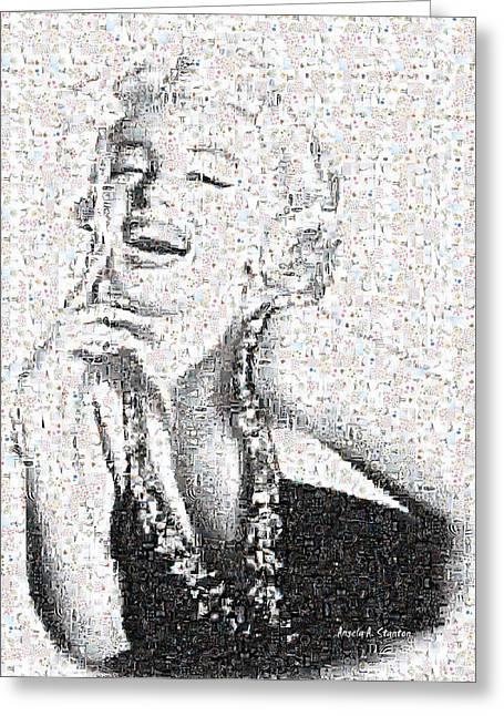 Marilyn Monroe In Mosaic Greeting Card by Angela A Stanton