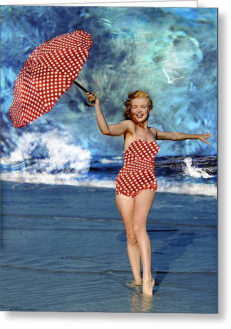 Marilyn Monroe - On The Beach Greeting Card