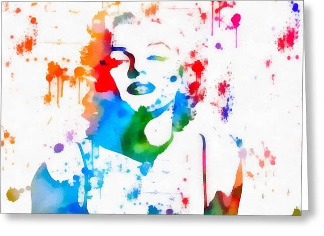Marilyn Monroe Paint Splatter Portrait Greeting Card by Dan Sproul