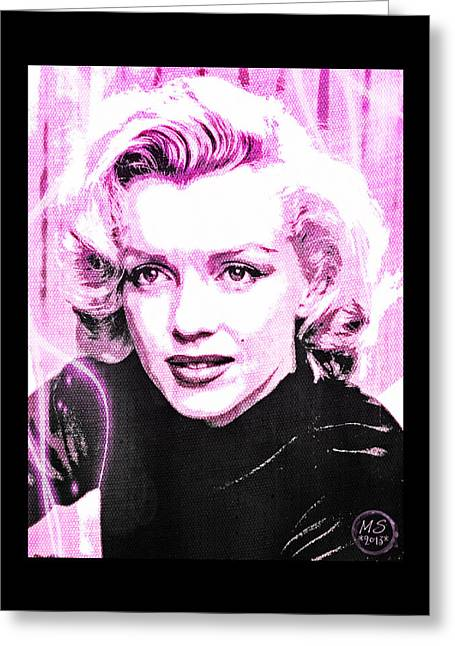 Marilyn Monroe - Pink Greeting Card by Absinthe Art By Michelle LeAnn Scott
