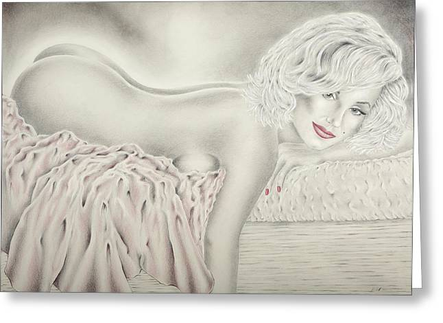Marilyn Monroe Reclining Nude Greeting Card by Vincent Wolff
