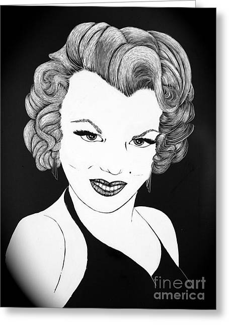 Marilyn Monroe- Scratch Bd Greeting Card by Linda Simon