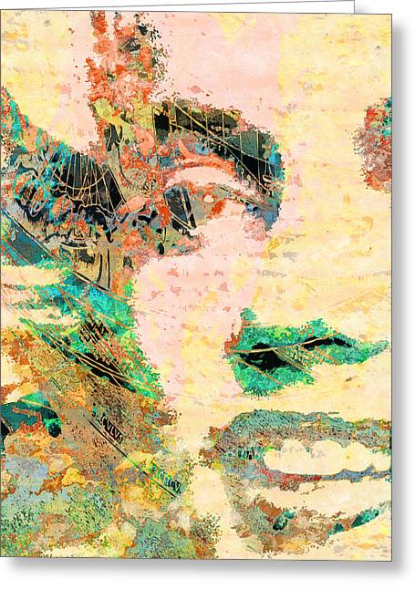 Marilyn Monroe Sunkist Art Collage Greeting Card by Robert R Splashy Art Abstract Paintings