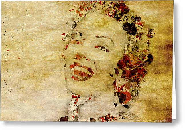 Greeting Card featuring the painting Marilyn Monroe Vintage by Debra Crank