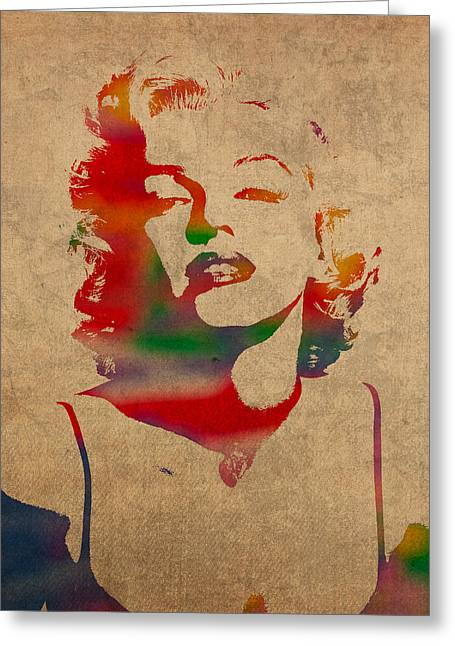 Marilyn Monroe Watercolor Portrait On Worn Distressed Canvas Greeting Card by Design Turnpike