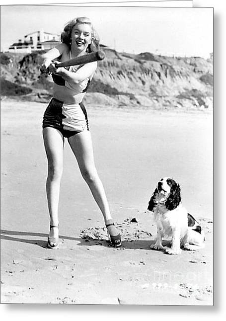 Marilyn Playing Baseball At The Beach Greeting Card by R Muirhead Art