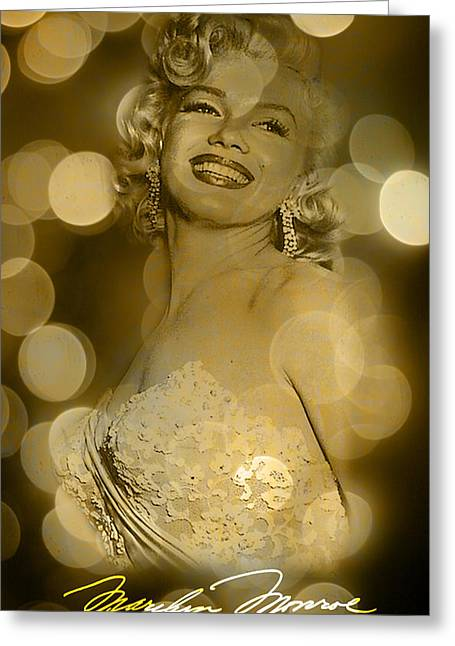 Marilyn Sparkles Greeting Card by Greg Sharpe