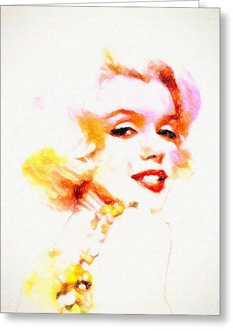 Marilyn The Pink Sketch Greeting Card by John Farr