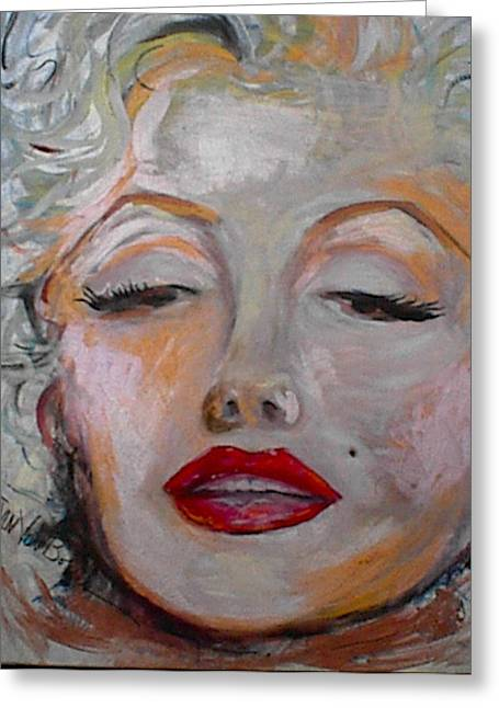 Marilyn With The Red Lips Greeting Card