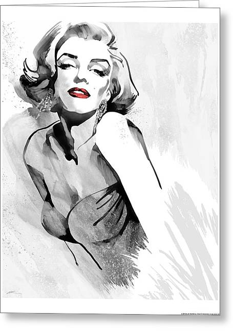 Marilyn's Pose Red Lips Greeting Card by Ellie Rahim