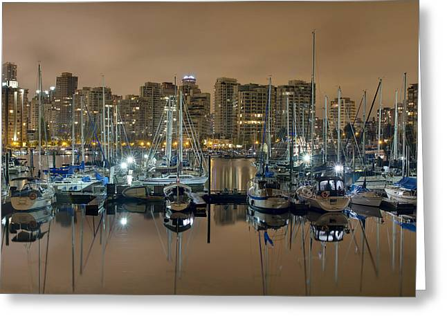 Marina Along Stanley Park In Vancouver Bc Greeting Card by David Gn