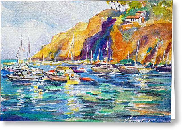 Marina At Catalina Greeting Card by Therese Fowler-Bailey