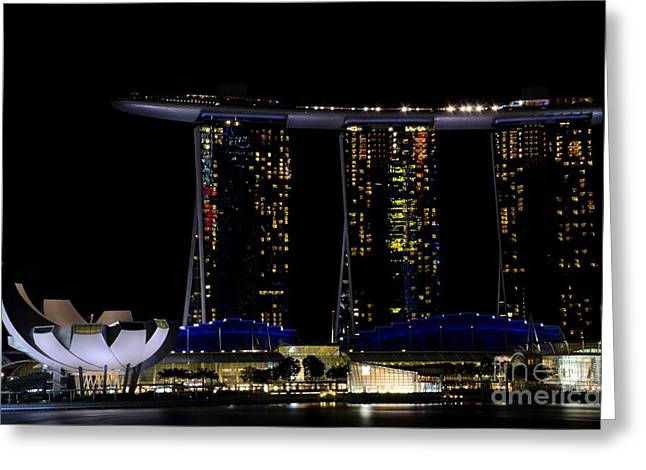 Marina Bay Sands Integrated Resort Hotel And Casino And Artscience Museum Singapore Marina Bay Greeting Card