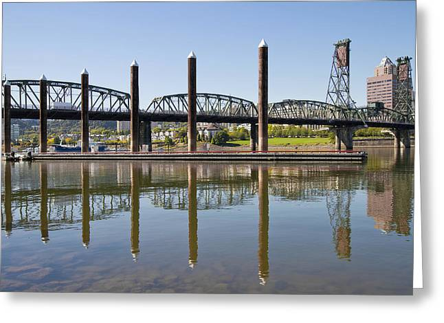 Greeting Card featuring the photograph Marina By Willamette River In Portland Oregon by JPLDesigns