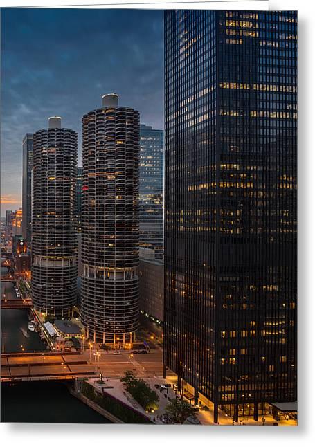 Marina City And A M A Plaza Chicago Greeting Card by Steve Gadomski