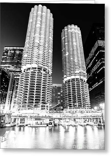 Marina City Towers At Night Black And White Picture Greeting Card by Paul Velgos