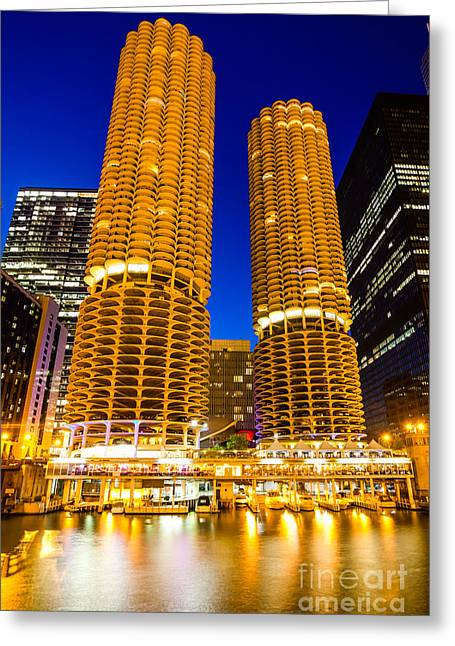 Marina City Towers At Night  Picture Greeting Card by Paul Velgos