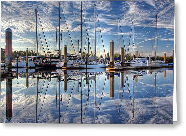 Greeting Card featuring the photograph Marina Morning Reflections by Farol Tomson