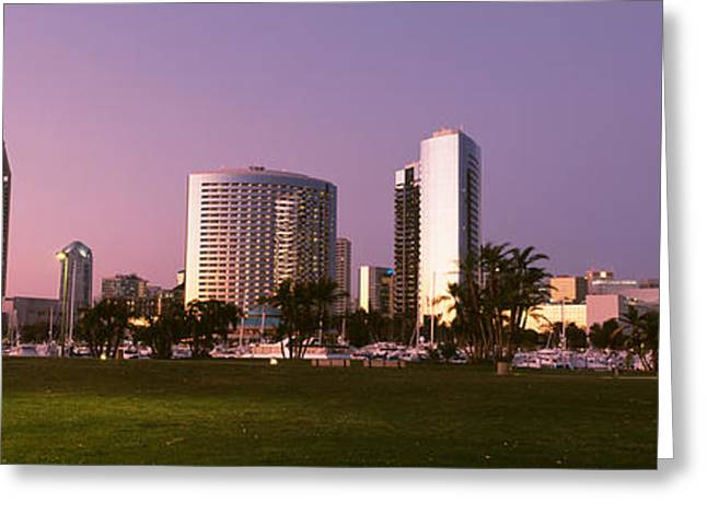 Marina Park And Skyline At Dusk, San Greeting Card by Panoramic Images