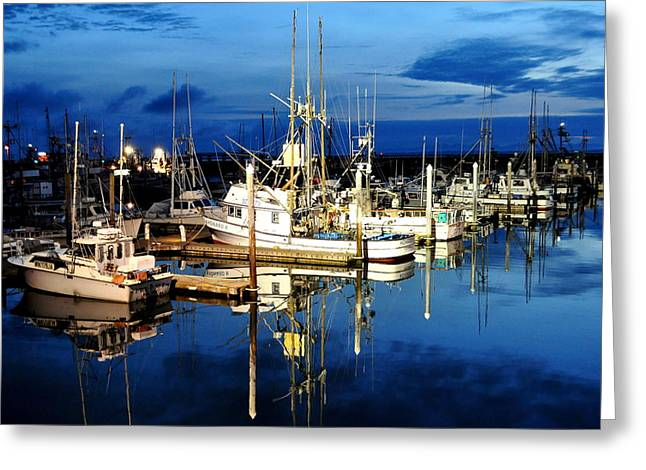 Marina Reflection Greeting Card by Michael Bruce