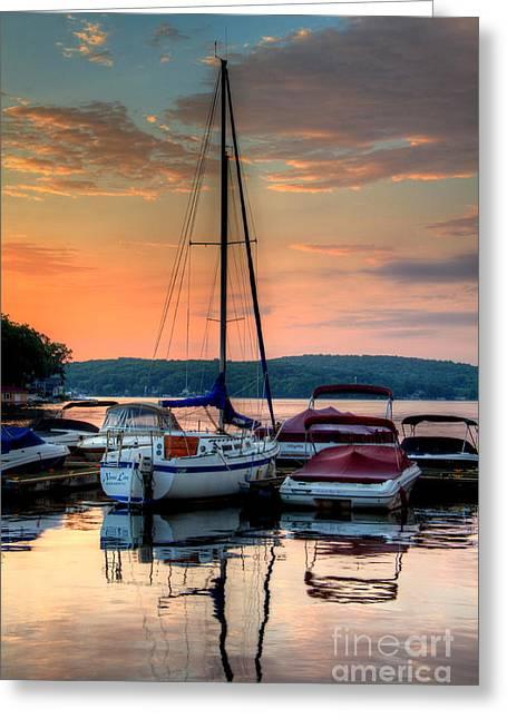 Marina Sunrise Greeting Card by Craig Holquist