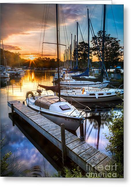 Marina Sunrise Greeting Card by Michele Steffey