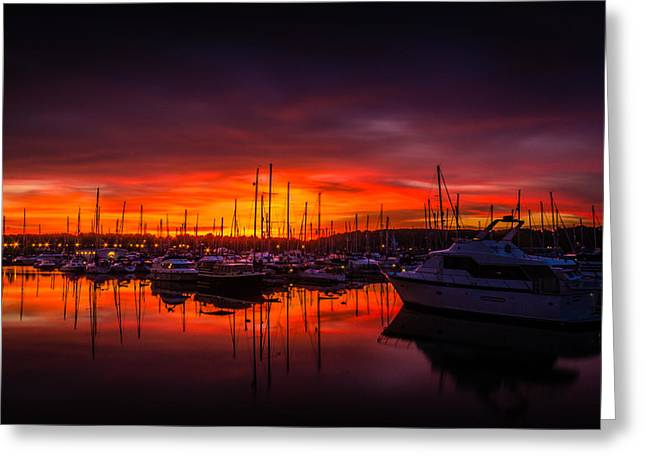 Marina Sunset Greeting Card by Dawn OConnor