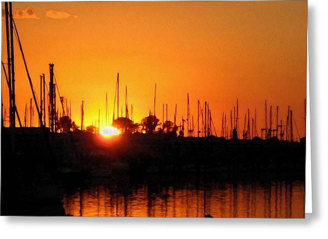 Marina Sunset Greeting Card by Kathy Bassett