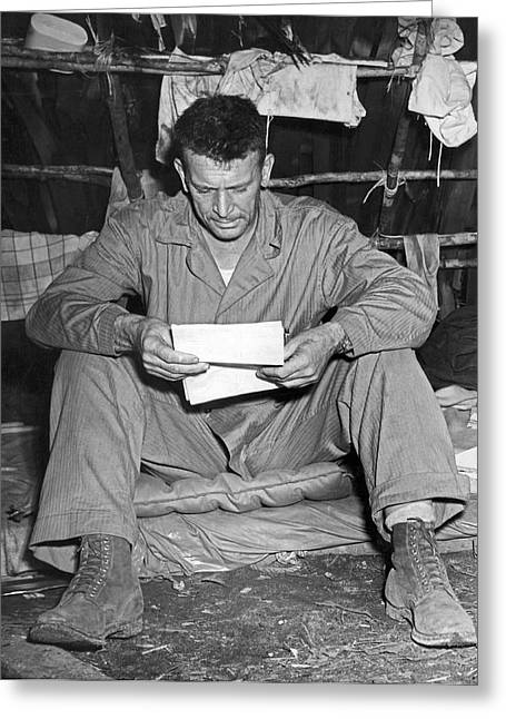 Marine And A Letter From Home Greeting Card by Underwood Archives