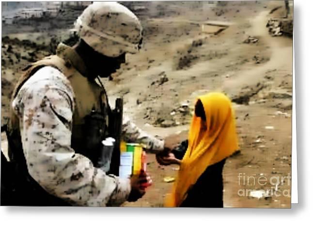 Marine Gives Afgan Girl Candy Greeting Card