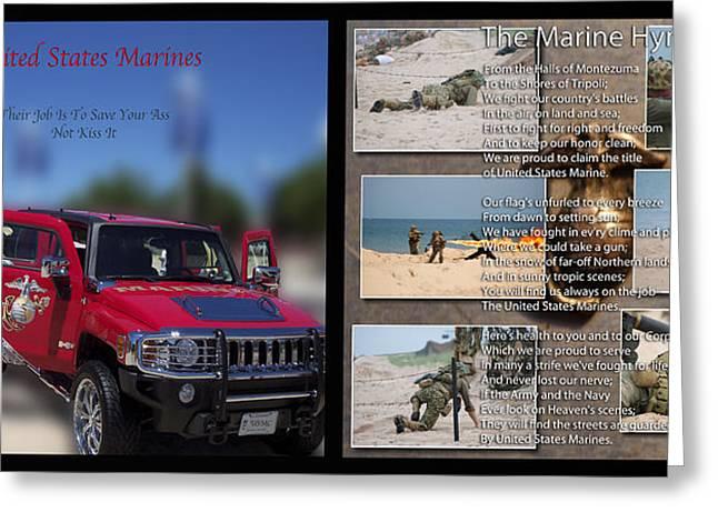 Marine Hymn And Humvee 2 Panel Greeting Card by Thomas Woolworth