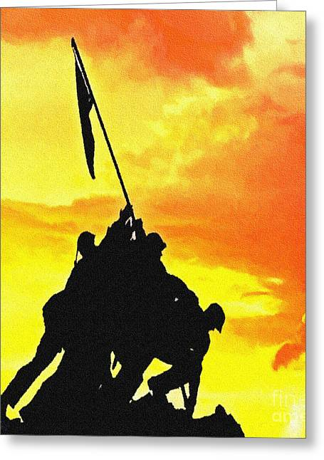 Marine Iwo Jima Memorial Dc Greeting Card by Bob and Nadine Johnston