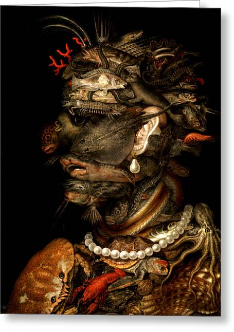 Greeting Card featuring the digital art Marine Life by Giuseppe Arcimboldo