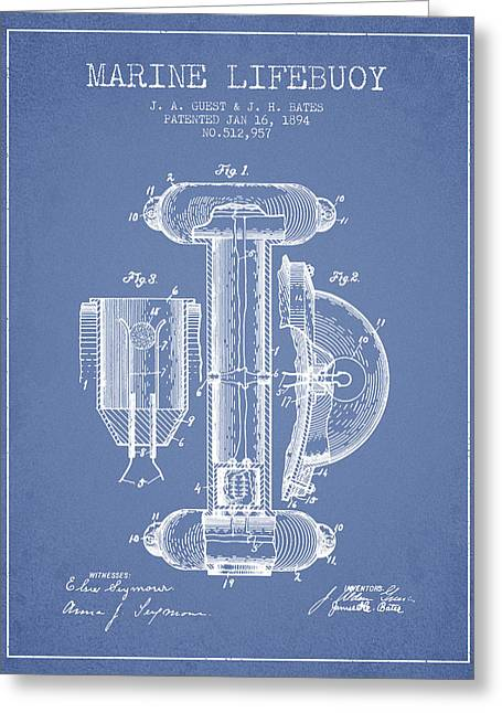 Marine Lifebuoy Patent From 1894 - Light Blue Greeting Card by Aged Pixel