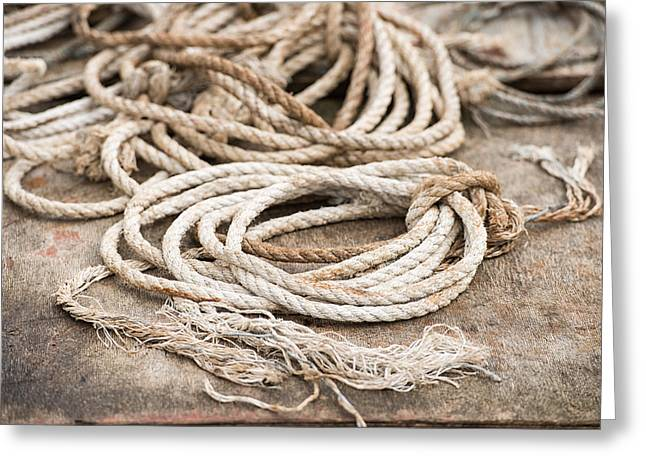 Marine Ropes Beige And Brown Colors Greeting Card