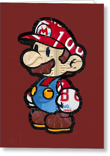 Mario Brothers Nintendo Original Vintage Recycled License Plate Art Portrait Greeting Card by Design Turnpike