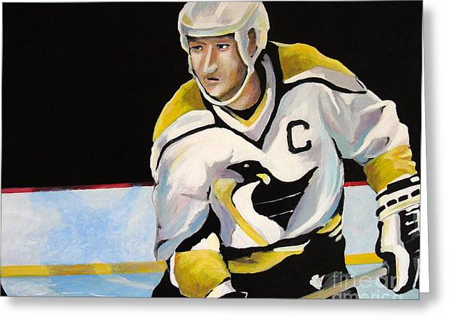 Mario Lemieux The Penguin That Saved Pittsburgh Greeting Card by Philip Kram