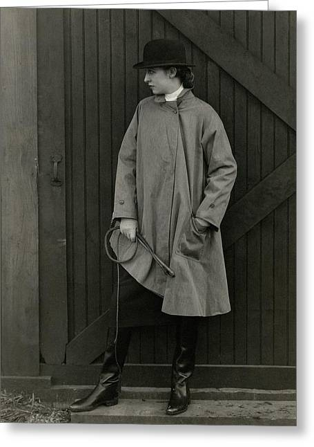 Marion Morehouse Wearing A Mackintosh Jacket Greeting Card by Edward Steichen