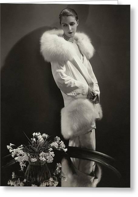 Marion Morehouse Wearing An Augustabernard Jacket Greeting Card by Edward Steichen
