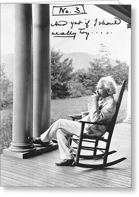Mark Twain On A Porch Greeting Card