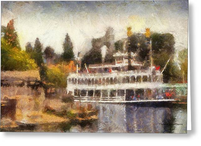 Mark Twain Riverboat Frontierland Disneyland Photo Art 02 Greeting Card by Thomas Woolworth