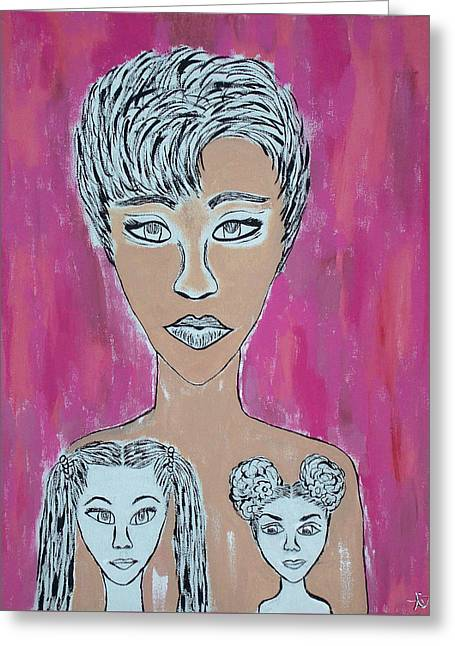 Mother And Daughters Painting And Drawing Greeting Card