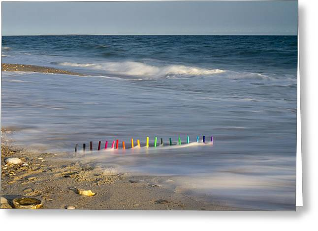Markers In The Surf Greeting Card by Betsy Knapp