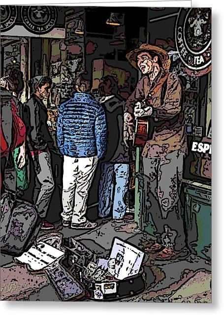 Market Busker 7 Greeting Card by Tim Allen