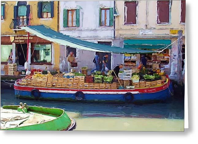 Market Day In Venice Greeting Card