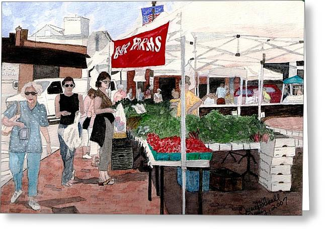 Market Day Greeting Card by June Holwell