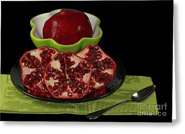Market Fresh Pomegranate Fruit Greeting Card by Inspired Nature Photography Fine Art Photography